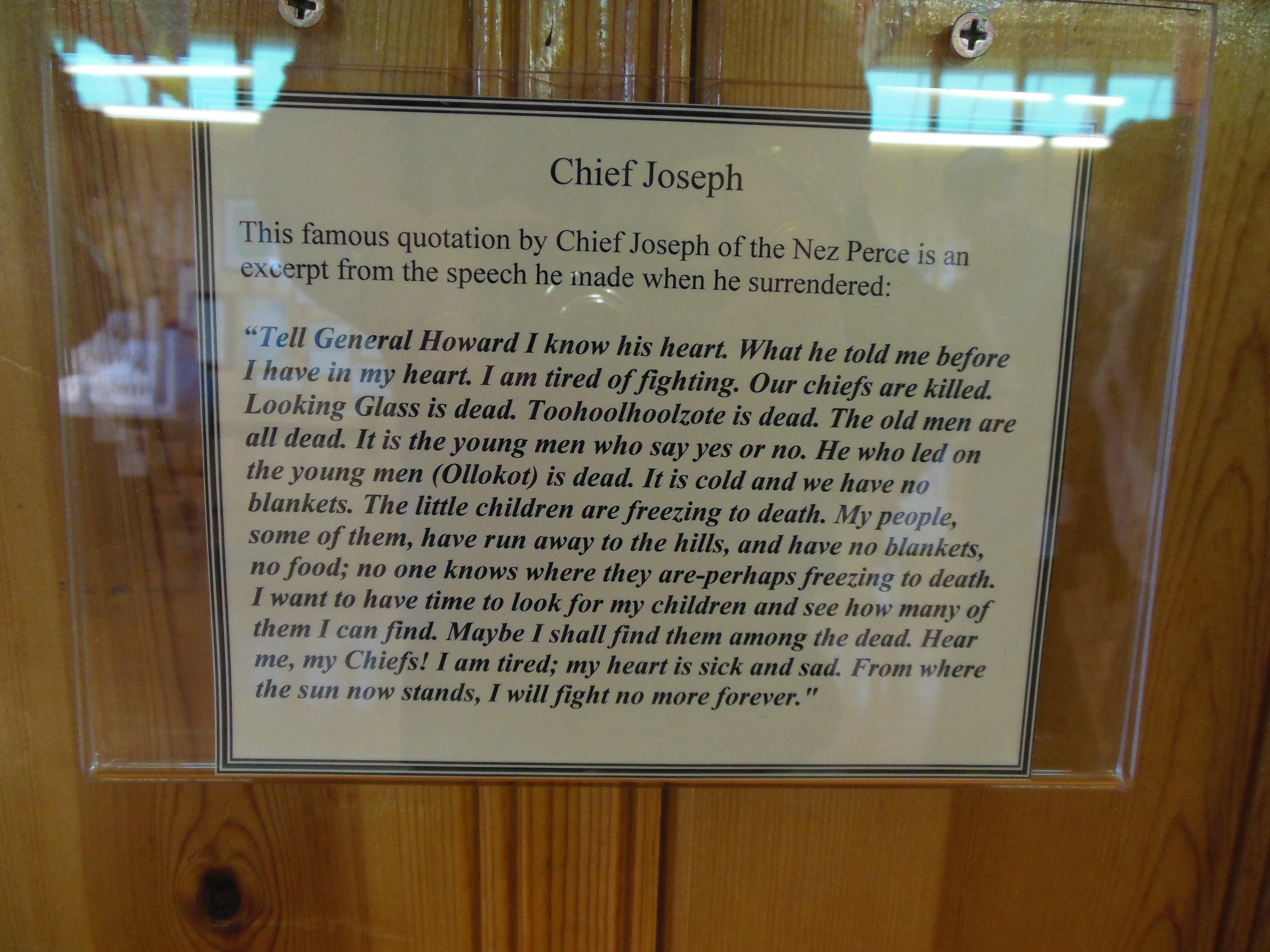 De speech van Chief Joseph