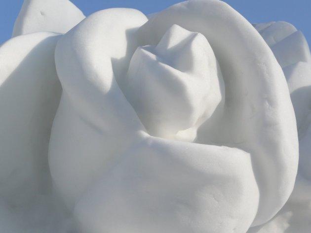 Detail van een sneeuwsculptuur