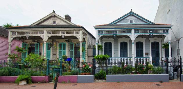 Typische  French Quarter Huisjes in New Orleans