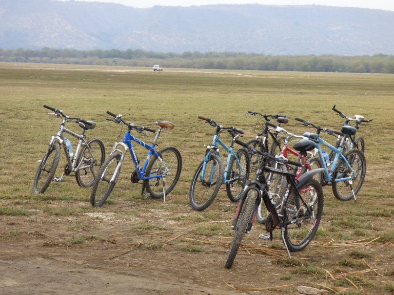 Onze mountainbikes in Lake Manyara National Park.