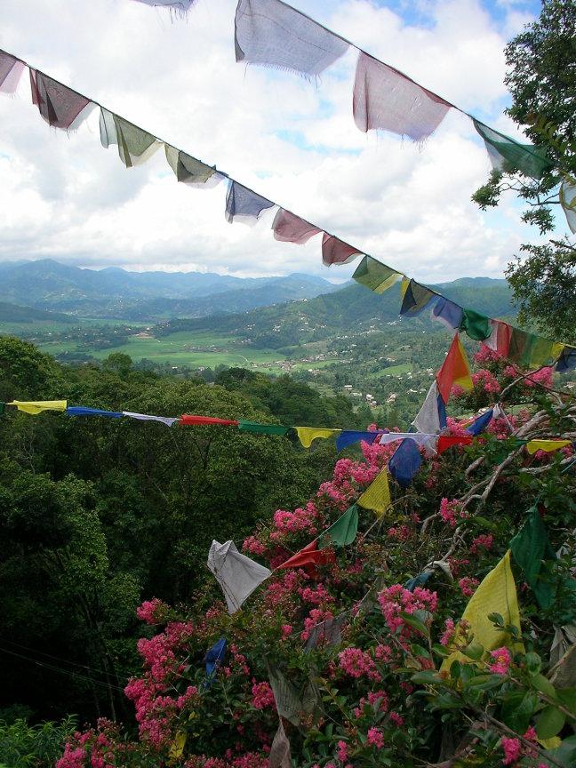 Uitzicht met gebedsvlaggen