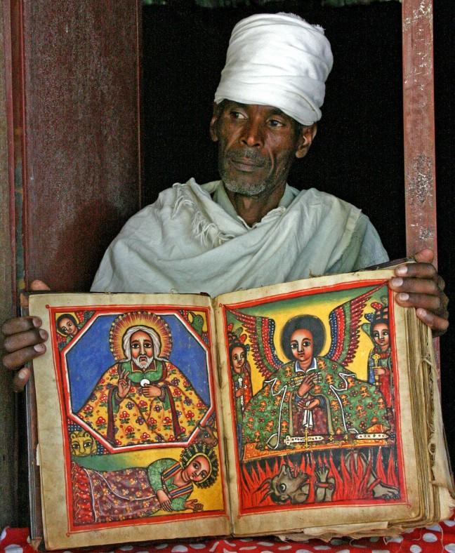 Priester met heilig boek
