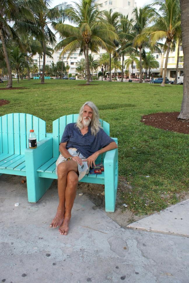 een zwerver in Miami