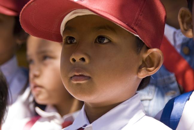 Schooljongen in Bandung, Java