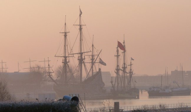 De Batavia op een wintermorgen.