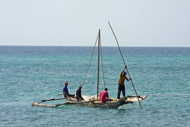 Mannen ter visvangst