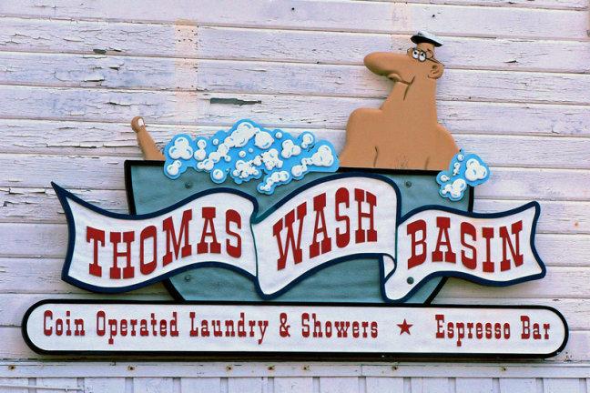 gevelbord van wasserij van Ketchikan