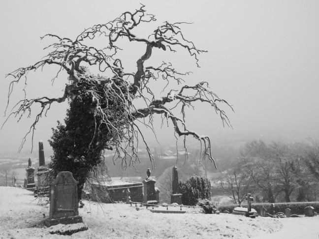 Kerkhof in de sneeuw