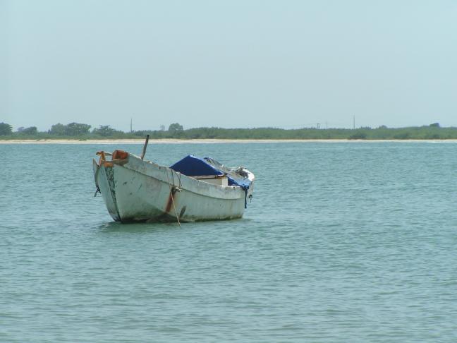 vissers bootje aan de kust