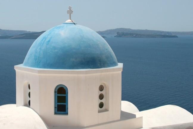 Kerkje in blauw-wit