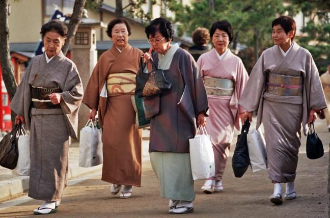 Japanse vrouwen in Miyajima
