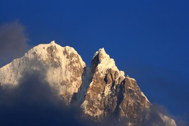 Salkantay trek, ochtendzon op de top