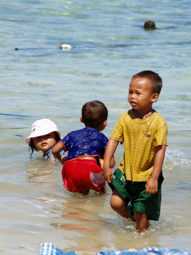 Spelen in het water.