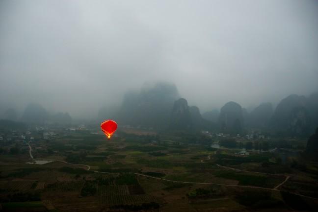 Ballon in de mist