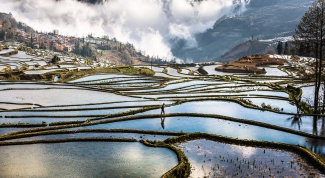 Zicht op rijstterras Duoyishu