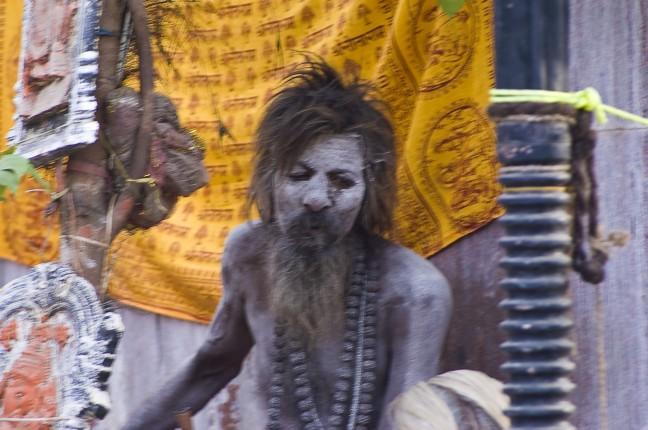 Brahmaan bedekt met menselijke as